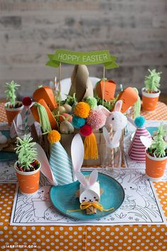 Such a cute and stylish Kid's Easter Table!