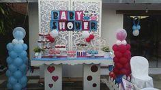 """Mesa de dulces """"Baby Shower de mis mellizos Isabella y Agusto"""""""