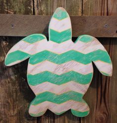 Distressed teal, white and yellow chevron sea turtle wood sign home decor  on Etsy, $28.00
