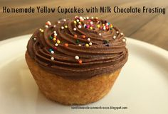 Sunshine and a Summer Breeze: Homemade Yellow Cupcakes with Milk Chocolate Frosting. These are delicious!