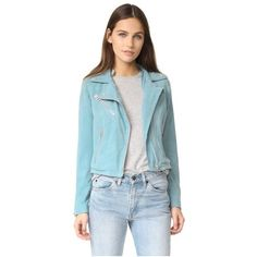 Doma Who Cropped Suede Moto Jacket (11,320 EGP) ❤ liked on Polyvore featuring outerwear, jackets, sea, blue jackets, cropped jacket, lightweight motorcycle jacket, blue motorcycle jacket and motorcycle jacket