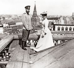 Emperor Nicholas II of Russia and Empress Alexandra Feodorovna standing on the roof of the Grand Kremlin Palace, their official residence in the city of Moscow. The palace was used extensively during the Coronation ceremonies to mark the beginning of the last few Emperors of Russia, serving as a residence, and playing host to magnificent balls and gala dinners.