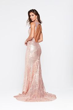 Rose Gold Sequins Elegant Cut Out Back Mermaid Floor Length Evening Prom  Dress  527a1d157