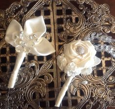 Groom Groomsmen Brooch Boutonniere by TheFlowerCo on Etsy, $14.00. Too 'girly' , I'm told.
