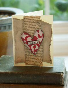 2 THANK YOU Cards Original Handmade Art Red by PaperandMallet