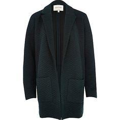 Dark green zig zag textured jersey jacket $80.00