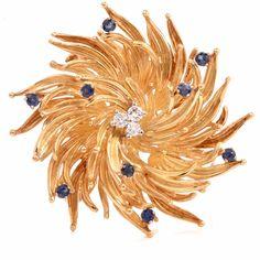 Tiffany & Co Vintage Diamond Sapphire Floral Motif 18k Gold Pin Brooch Item # 6172100