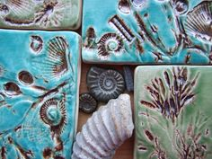 4 Untersetzer, Muscheln, Fossilien und Algen aus dem Jurassic Coast, glasiert mit Bronze und grün und Türkis Knistern Glasur MADE TO ORDER