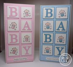 pair of handmade baby cards from Stampin with Paula Sievers from Australia . inchies in grid spell out BABY with die cut letters . Baby Boy Cards, New Baby Cards, Baby Shower Cards, Creative Cards, Kids Cards, Cute Cards, Greeting Cards Handmade, Scrapbook Cards, Scrapbook Stickers