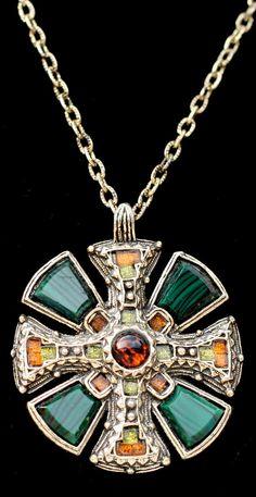 vintage celtic cross agate necklace