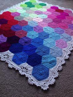 (4) Name: 'Crocheting : Geometric Lace Blanket