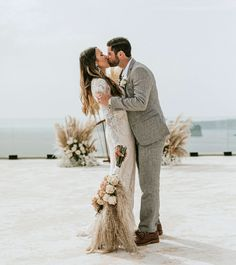 Romantic Santorini Elopement with Plenty of Pampas Grass Elope Wedding, Our Wedding Day, Elopement Wedding, Wedding Shoes, Dream Wedding, Santorini Wedding, Greece Wedding, Couple Photography Poses, Friend Photography