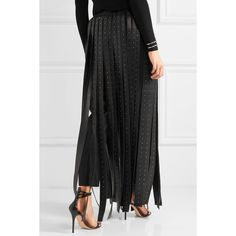 Valentino Crystal-embellished leather maxi skirt (73,470 EGP) ❤ liked on Polyvore featuring skirts, valentino skirt, ankle length skirt, sparkly maxi skirt, long skirts and leather skirt