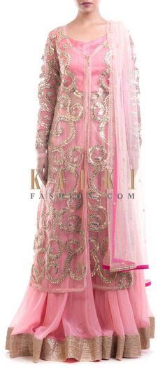 Buy Online from the link below. We ship worldwide (Free Shipping over US$100) Price- $449 Click Anywhere to Tag http://www.kalkifashion.com/pink-lehenga-with-a-gota-jacket.html