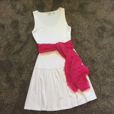 Cute Summer Dress Cute white Pima cotton sundress with tank top and and dropped waist. In perfect condition. Worn twice. Liz Claiborne Dresses
