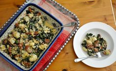 Chicken Sausage, Cauliflower and Kale Casserole recipe...low in carbs, high in fiber, protein and flavor.