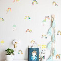 Buy Rainbow Wall Decals Cloud Decals Watercolor Raindrop Wall Stickers DIY Wall Decoration for Nursery Kids Baby Girls Bedroom Living Room Wall Decor or Party Birthday Kids Wall Decor, Baby Room Decor, Nursery Room, Girl Nursery, Bebe Shower, Ideas Habitaciones, Rainbow Wall Decal, Cartoon Wall, Nursery Wall Stickers