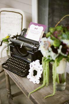 Got the typewriter at Railroad Towne Antique Mall, 319 W St, Grand Island, NE, has a Vintage Party, Vintage Bridal, Nashville, Blush Wedding Theme, Roaring 20s Wedding, Hipster Decor, Shabby Chic Theme, Antique Typewriter, Studios