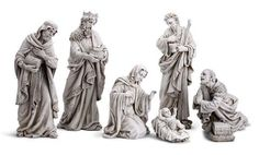 "7 Piece Grey Stone Color Baby Jesus Church Nativity Scene Extra Large 24"" Tall"