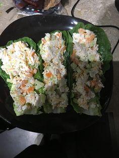 Chicken salad on lettuce wraps