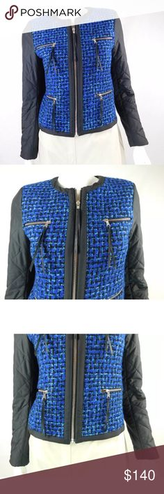"""Sandro Tweed Quilted Zip-up Jacket - Size 2 Sandro Tweed Quilted Zip-up Jacket - Size 2 Size 36/ US 2 Gorgeous blue tweed core and black quilted arms  Zip up style Four zippered pockets in front with leather pulls Lined Made in Poland  Condition: Sleek and stylish-no signs of wear or defects! (Second hand item-has been worn by previous owner)   Measurements  Length: 21"""" Chest: 34"""" Waist: 31"""" Shoulder: 14.5 Sleeve: 22""""                           100% Authenticity Guarantee Sandro Jackets…"""