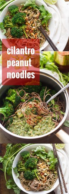 Buckwheat noodles are cooked up with broccoli and tossed with a zesty cilantro and peanut butter dressing to make these easy and flavor-packed peanut soba noodles.