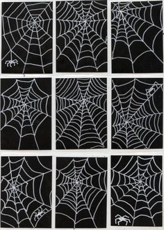 Spiderweb-ATCs-731x1024 Simple one day project or sub plan.  Draw 9, then mount