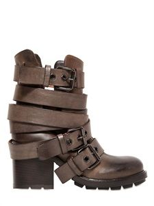 Strategia belted calf leather boots