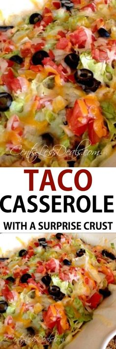 easy taco casserole will definitely dazzle your taste buds! Its got all of the spicy flavor combinations you love mellowed perfectly by the cream cheese and cheddar cheese. Its a casserole that will be requested often in your household! Easy Taco Casserole, Casserole Dishes, Casserole Recipes, Mexican Casserole, Cheeseburger Casserole, Pizza Casserole, Mexican Dishes, Mexican Food Recipes, Dinner Recipes