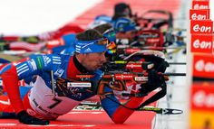 Anton Shipulin of Russia prepares to shoot his rifle as he competes in the men's 12.5 km pursuit during the International Biathlon Union (IB...