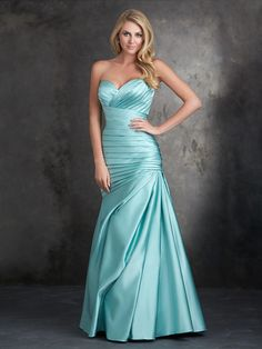 Allure 1406 Asymmetrical ruching creates a figure-flattering silhouette in this strapless satin mermaid bridesmaid gown.