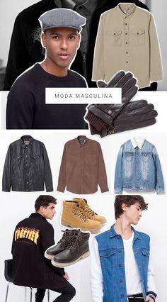 Estilo masculino para o Outono/Inverno. Jaquetas jeans, jaquetas de couro, moletom, camisas de veludo, letterings, luvas, toucas, boinas, botas estilo coturno. A moda masculina vem com muitas opções, é o momento de sair do básico. Os estilos se conversam, trazendo o oversize como ponto principal. O militarismo também vem forte no estilo deles, com parkas, verde musgo e botas.