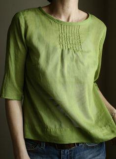pintuck blouse - avocado