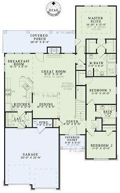 Plan #8168: 3 bedroom, 2 bath house plan with 2-car garage. Narrow lot house plans, 1 story | HousePlansPlus.com