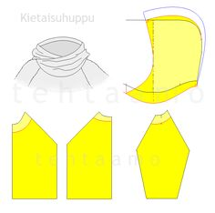 Kietaisuhuppu Sewing Hacks, Sewing Tutorials, Sewing Patterns, Hood Pattern, Pattern Drafting, Pattern Making, Handicraft, Diy Clothes, Fabric Crafts