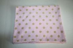 Pink baby blanket khaki brown green polka dot soft plush RN# 89134 Pem America #PemAmerica #BabyBlanket