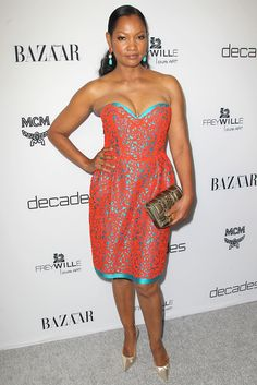 or Hmm…Garcelle Beauvais's Dukes of Melrose Launch Party Vintage Oscar de la Renta Orange and Teal Lace Dress, Gold MCM Clutch, and Chanel Drop Earrings.I like the color combo Gold Dress, Lace Dress, Mcm Clutch, Garcelle Beauvais, Caribbean Queen, Chantilly Lace, Beautiful Black Women, Fashion Company, Dress For You