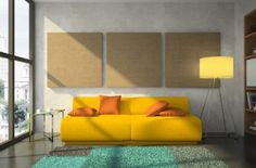 Yellow sofa and orange floor lamp , they make room more warm and sweet , sofa…