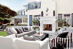 Black-and-white outdoor living room featured in @Allison House! Beautiful magazine.   Design: Martyn Lawrence Bullard  Photography:  Tim Street-Porter