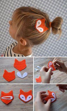"Felt Fox hair clip for kids   Творим с детьми: заколка ""Лисичка"" из фетра"