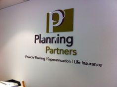 Reception sign crafted out of acrylic material for Planning Partners. All signage provided by Sign A Rama Box Hill.