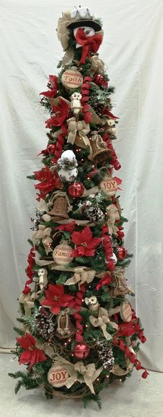 Love a more traditional Christmas Tree? Check out our custom made Woodsy Primitive Christmas Tree! Skinny Christmas Tree, Pencil Christmas Tree, Christmas Tree Themes, Holiday Tree, Christmas Love, Country Christmas, Xmas Tree, Christmas Traditions, Christmas Holidays