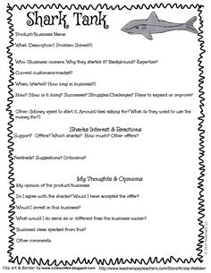 FREE Shark Tank printable for your students to evaluate businesses. Download in the preview for the Business Think Book.