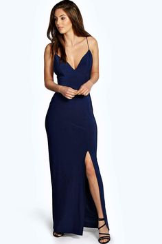 Rhia Plunge Slinky Maxi Dress