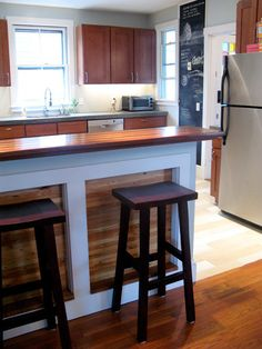 Kitchen Island Kick Plate make built-ins look like free-standing furniture: paint cabinet