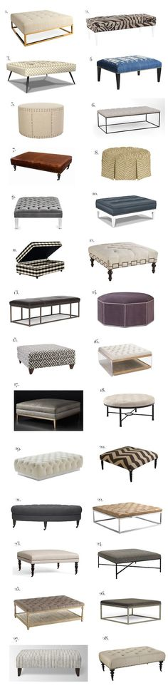 "As I prepare to get rid of my glass and metal coffee table (aka ""The Kiddy Guillotine"") I have been looking for the perfect ottoman to serve as a coffee table. It's tough! There are many things than one wants in the function of an ottoman, but you also want it to look good! phentermine …:"