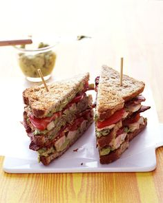 You'll look forward to lunch when one of our all-time favorite sandwiches is on the menu. Choose from time-honored classics such as chicken, egg, or ham salad; deli mainstays like BLTs and Reubens; American regional specialties, including po'boys and lobster rolls; and lots more.Avocado mashed with pickled jalapenos and lime juice adds kick to this triple-decker sandwich. Spread on toasted wheat bread and layer with bacon strips, sliced tomato, and sauteed turkey cutlets.