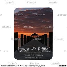Rustic Gazebo Sunset Wedding Save The Date Rectangular Photo Magnet This wedding save the date features nature landscape photography of a beautiful Rodanthe, North Carolina, Cape Hatteras National Seashore sunset with light grey text. Great for a beach, country, rustic, sunset themed or destination wedding. Matching products are available in my shop.