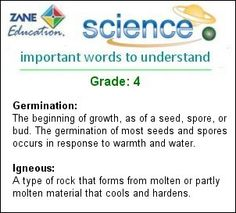Science Words for Grade: 4 - http://www.zaneeducation.com - Study the meanings of important Science Words for Grade: 4