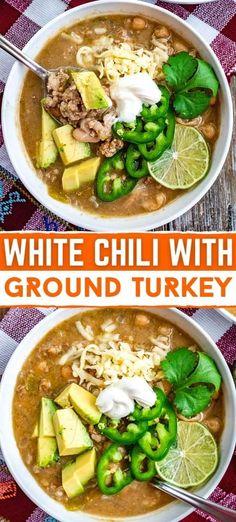 Ground Turkey Chili, Healthy Ground Turkey, Healthy Turkey Chili, Ground Chicken Chili, Healthy White Chili Recipe, White Chili Recipes, Easy Healthy Recipes, White Turkey Chili, Turkey Chilli